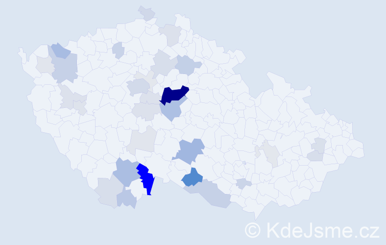 Příjmení: 'Čábelová', počet výskytů 111 v celé ČR