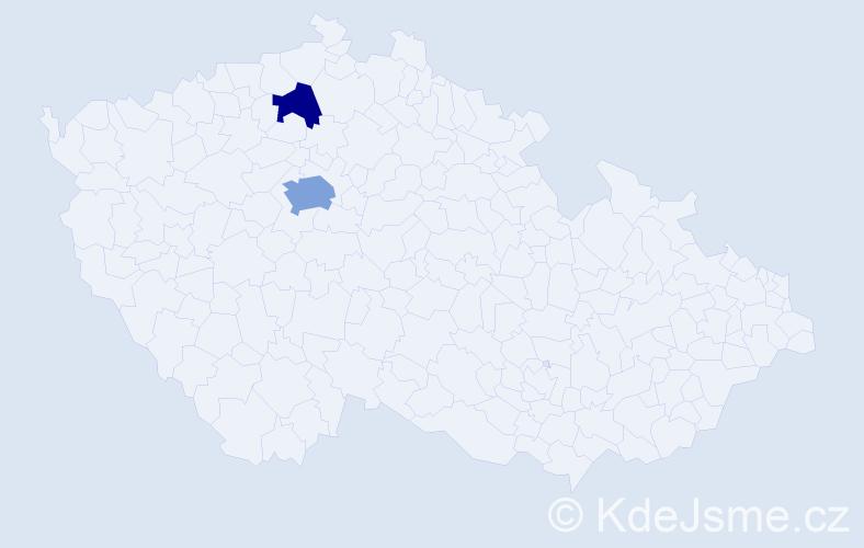Příjmení: 'Derbal', počet výskytů 4 v celé ČR
