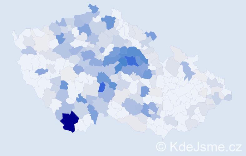 Příjmení: 'Hrubeš', počet výskytů 910 v celé ČR