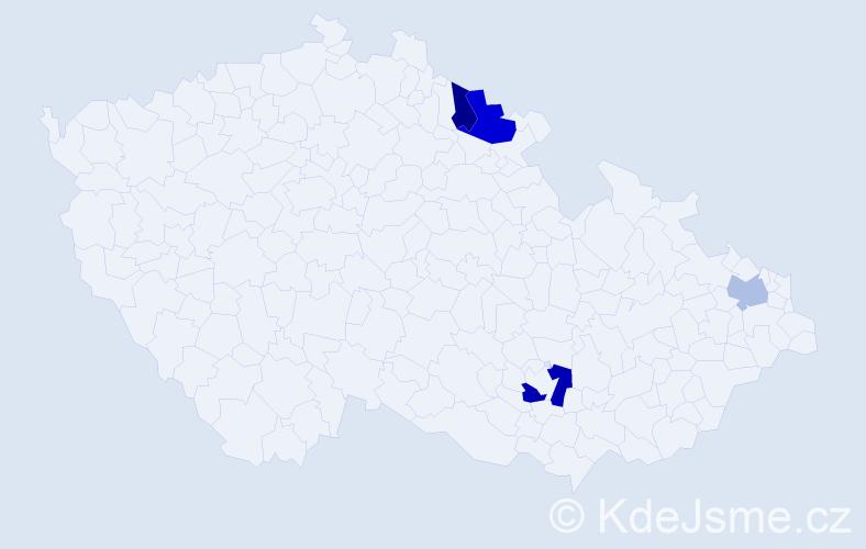 Příjmení: 'Kapitániková', počet výskytů 6 v celé ČR