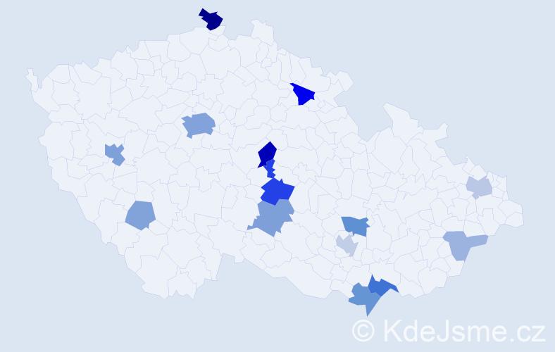 Příjmení: 'Kelly', počet výskytů 43 v celé ČR