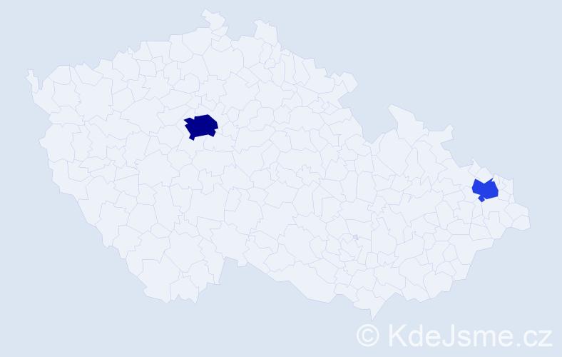 Příjmení: 'Borota', počet výskytů 6 v celé ČR