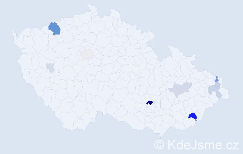 Příjmení: 'Kollarčíková', počet výskytů 16 v celé ČR