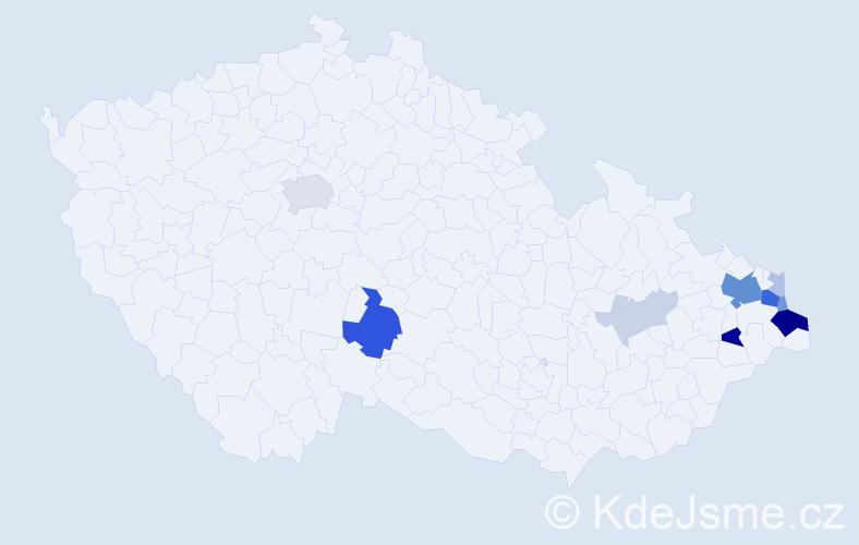 Příjmení: 'Kutaj', počet výskytů 31 v celé ČR