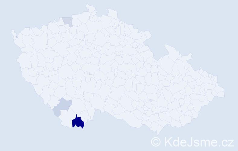 Příjmení: 'Čoka', počet výskytů 10 v celé ČR