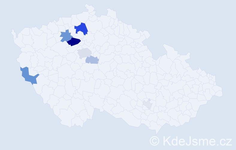 Příjmení: 'Krakeš', počet výskytů 20 v celé ČR