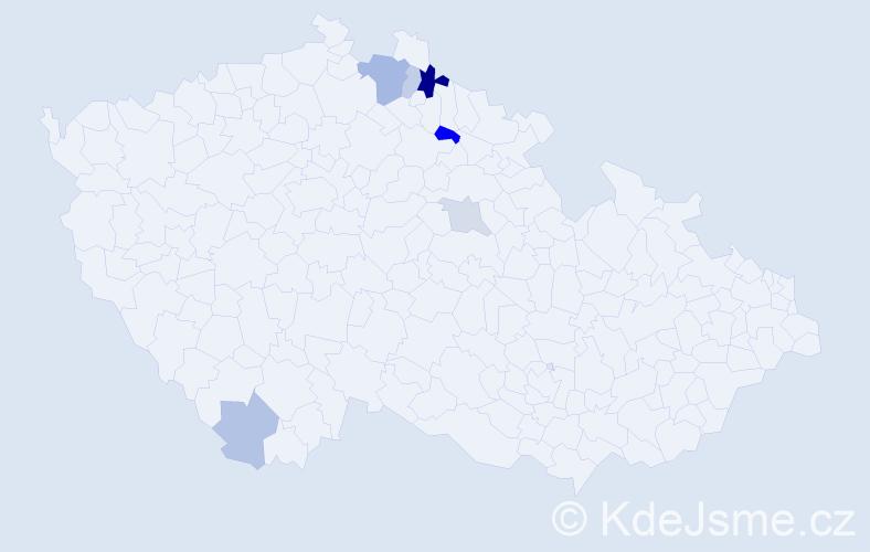 Příjmení: 'Danilo', počet výskytů 12 v celé ČR