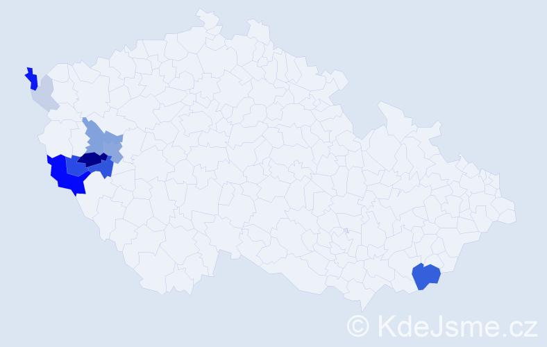 Příjmení: 'Bohmannová', počet výskytů 37 v celé ČR