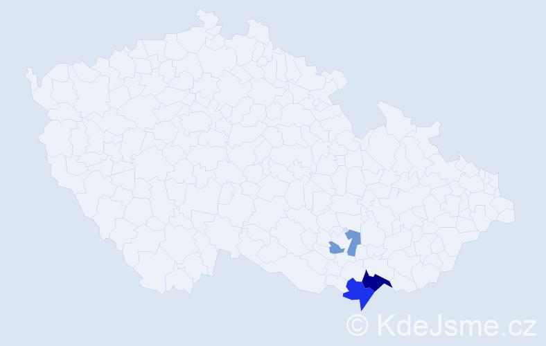 Příjmení: 'Gaží', počet výskytů 6 v celé ČR
