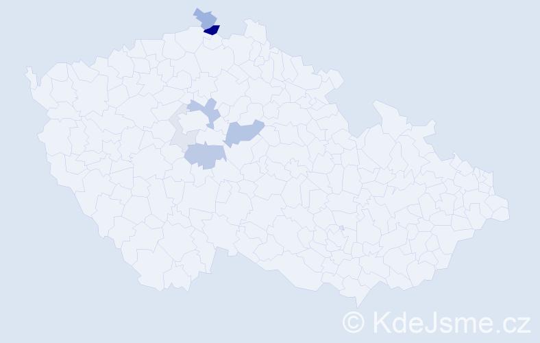 Příjmení: 'Jetýlková', počet výskytů 18 v celé ČR