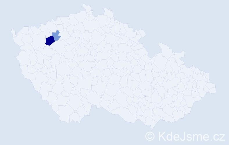 Příjmení: 'Čučvara', počet výskytů 3 v celé ČR