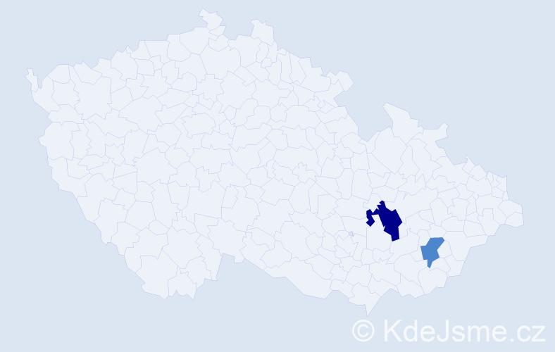 Příjmení: 'Bates', počet výskytů 3 v celé ČR