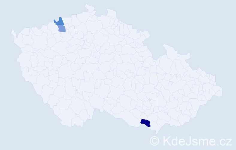 Příjmení: 'Ibrahimovič', počet výskytů 3 v celé ČR