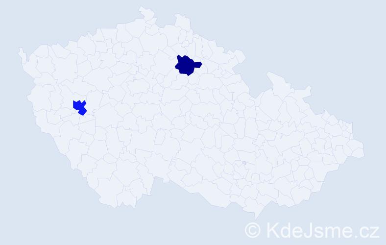 Příjmení: 'Calková', počet výskytů 3 v celé ČR