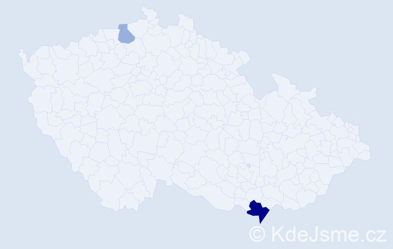 Příjmení: 'Mackových', počet výskytů 9 v celé ČR