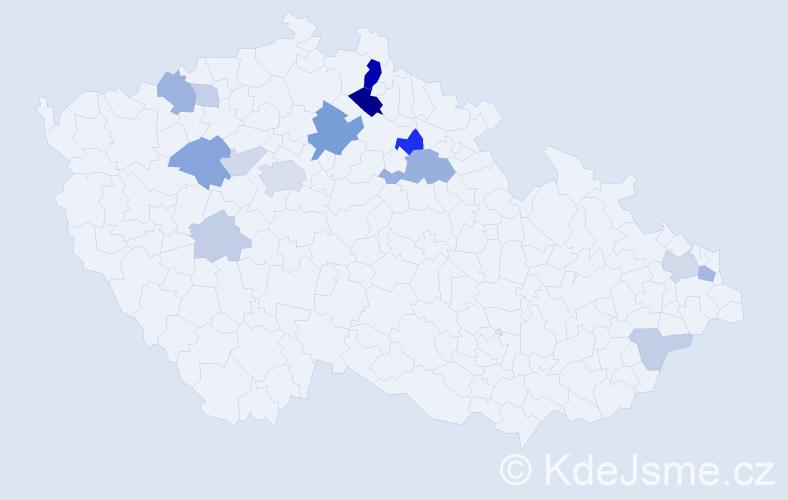 Příjmení: 'Eršil', počet výskytů 39 v celé ČR