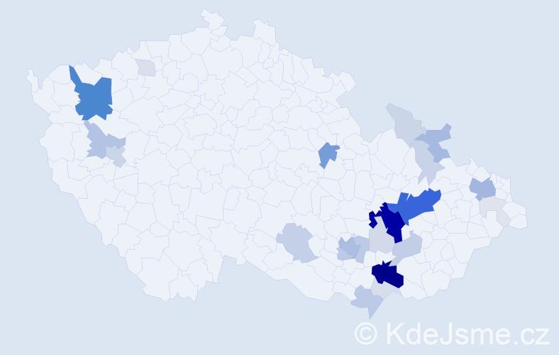 Příjmení: 'Brančík', počet výskytů 117 v celé ČR