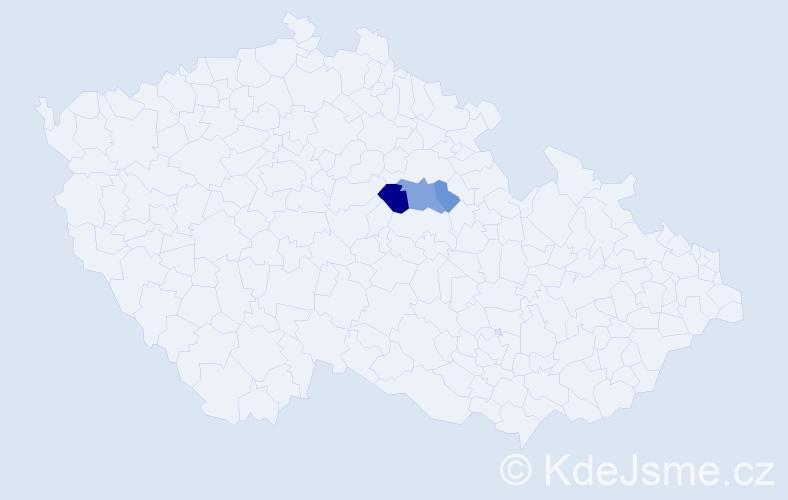 Příjmení: 'Čepčářová', počet výskytů 9 v celé ČR