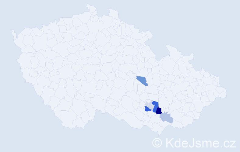 Příjmení: 'Jachymiáková', počet výskytů 12 v celé ČR