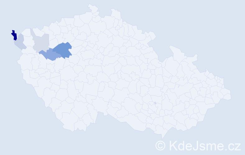 Příjmení: 'Borša', počet výskytů 11 v celé ČR