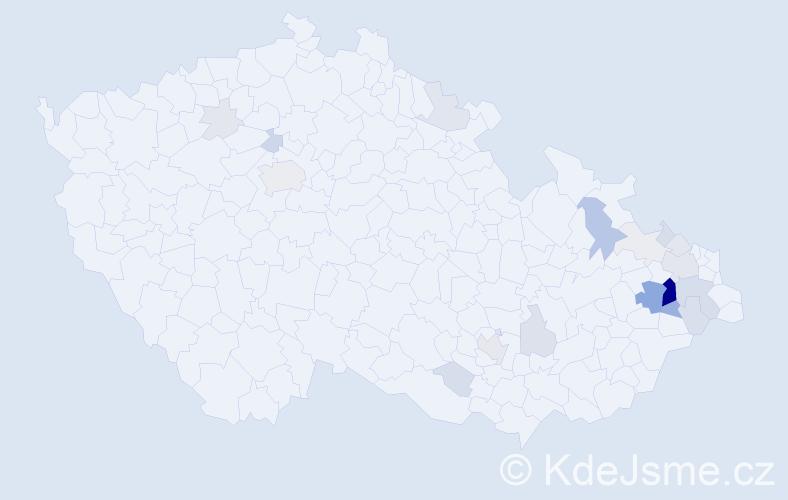 Příjmení: 'Hyvnar', počet výskytů 87 v celé ČR