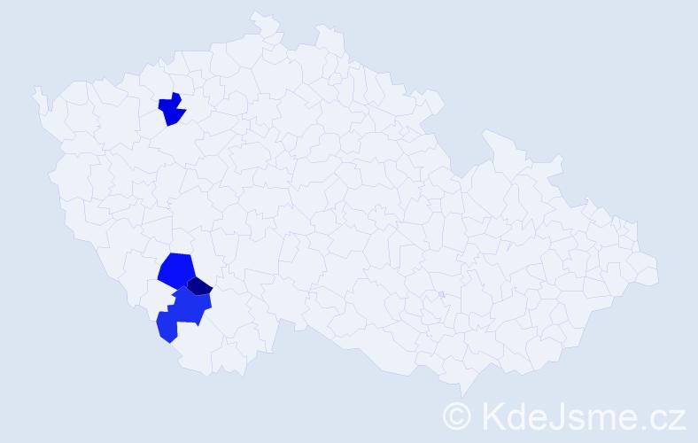 Příjmení: 'Hamlíková', počet výskytů 8 v celé ČR