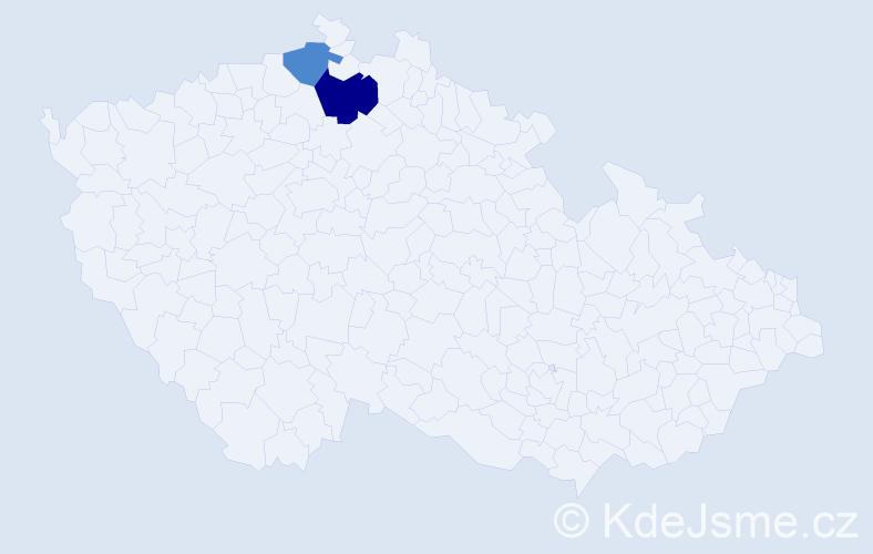 Příjmení: 'Dinnbierová', počet výskytů 3 v celé ČR