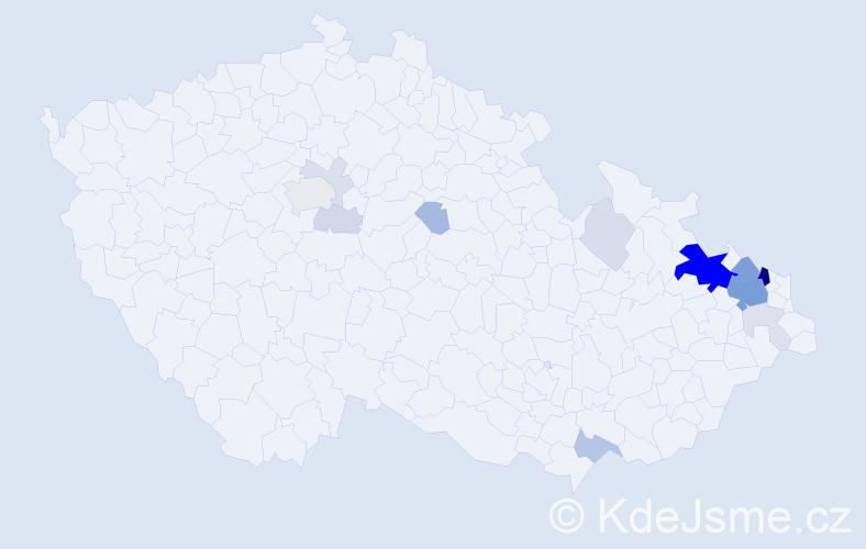 Příjmení: 'Halška', počet výskytů 55 v celé ČR