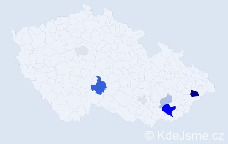 Příjmení: 'Habartíková', počet výskytů 19 v celé ČR