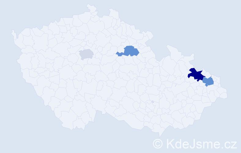 Příjmení: 'Banetková', počet výskytů 6 v celé ČR