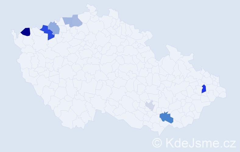 Příjmení: 'Igaz', počet výskytů 11 v celé ČR
