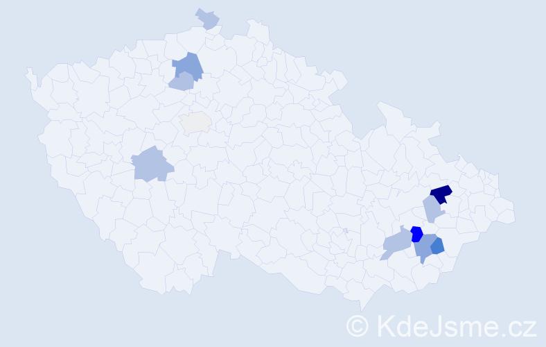 Příjmení: 'Dědičíková', počet výskytů 25 v celé ČR
