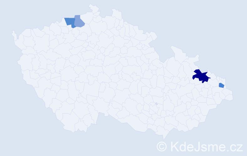 Příjmení: 'Čekalský', počet výskytů 9 v celé ČR
