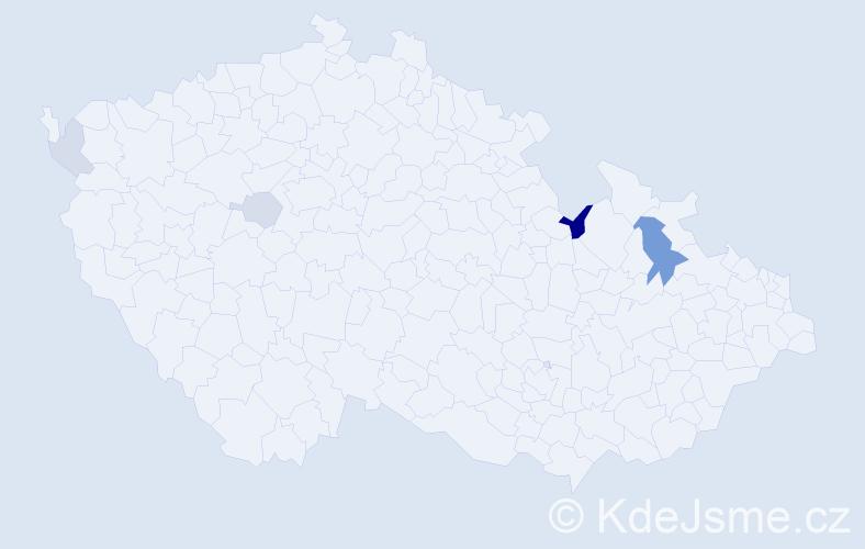 Příjmení: 'Kmiť', počet výskytů 9 v celé ČR
