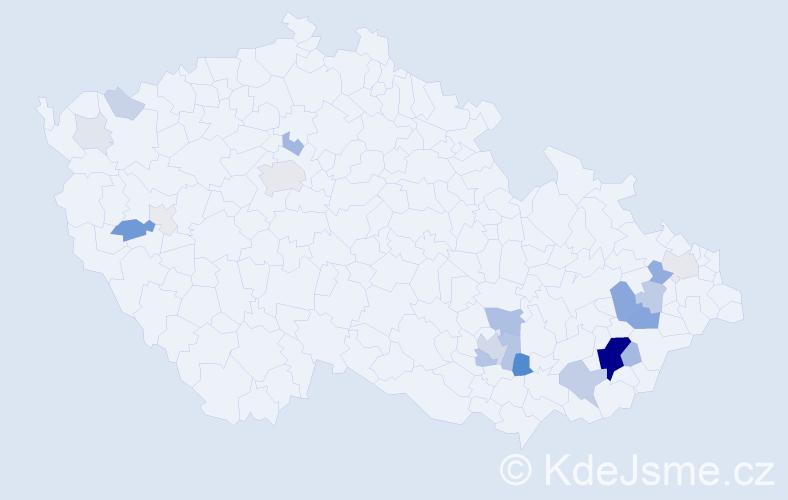 Příjmení: 'Klinkovská', počet výskytů 80 v celé ČR