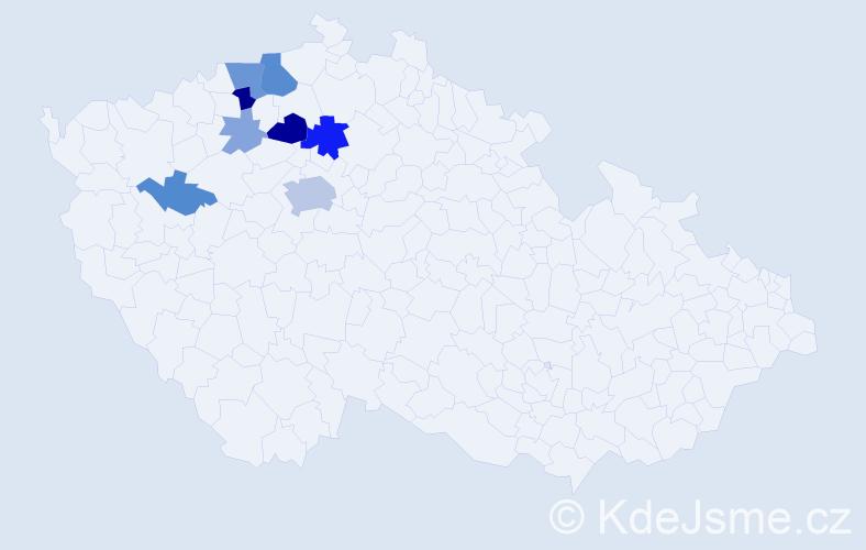 Příjmení: 'Hajšlová', počet výskytů 24 v celé ČR