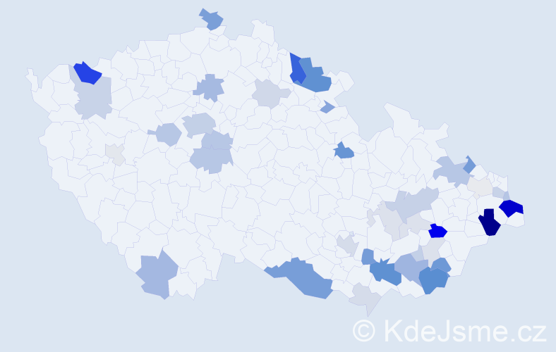 Příjmení: 'Goldmann', počet výskytů 135 v celé ČR