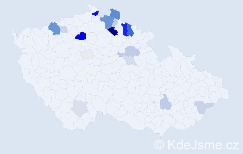 Příjmení: 'Hek', počet výskytů 44 v celé ČR