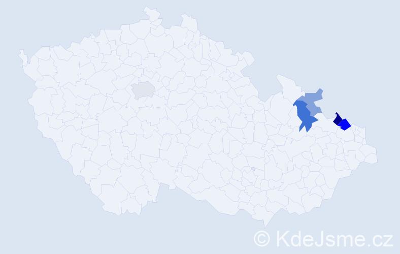 Příjmení: 'Hymonová', počet výskytů 10 v celé ČR