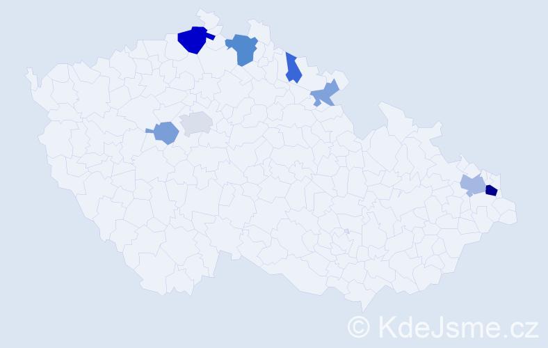 Příjmení: 'Dorník', počet výskytů 19 v celé ČR