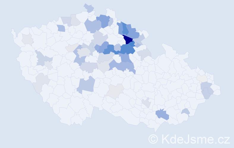 Příjmení: 'Jirousek', počet výskytů 185 v celé ČR