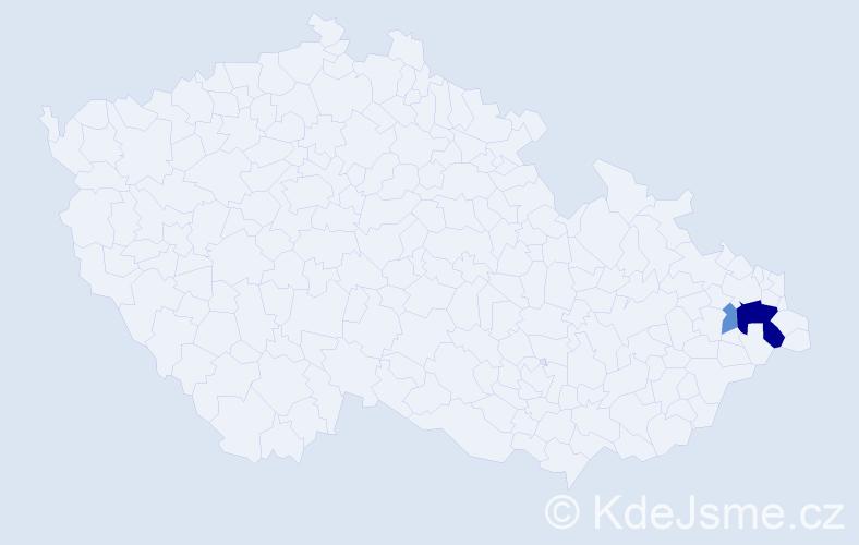 Příjmení: 'Kapitulčínová', počet výskytů 6 v celé ČR