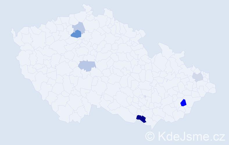 Příjmení: 'Ekhartová', počet výskytů 11 v celé ČR
