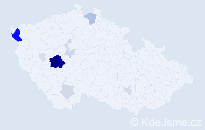 Příjmení: 'Hyspecký', počet výskytů 23 v celé ČR