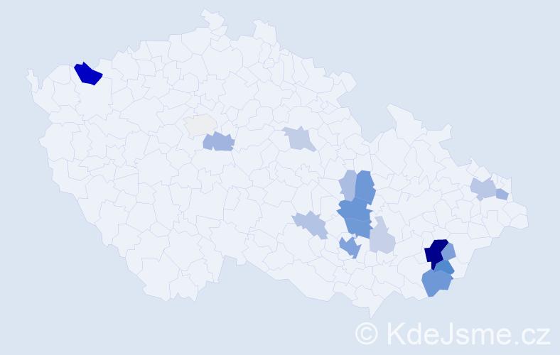 Příjmení: 'Čechman', počet výskytů 70 v celé ČR