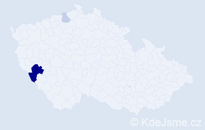 Příjmení: 'Čerba', počet výskytů 7 v celé ČR