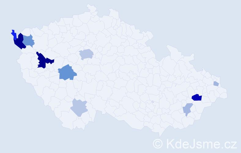Příjmení: 'Čmok', počet výskytů 25 v celé ČR
