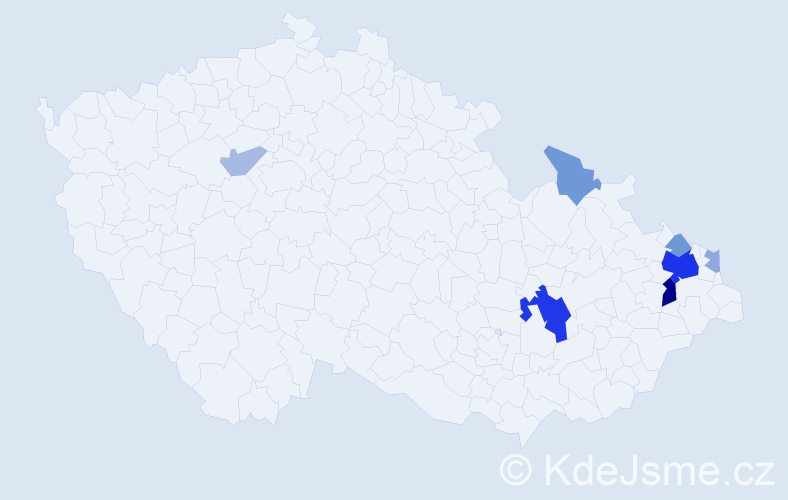 Příjmení: 'Chmelář', počet výskytů 21 v celé ČR