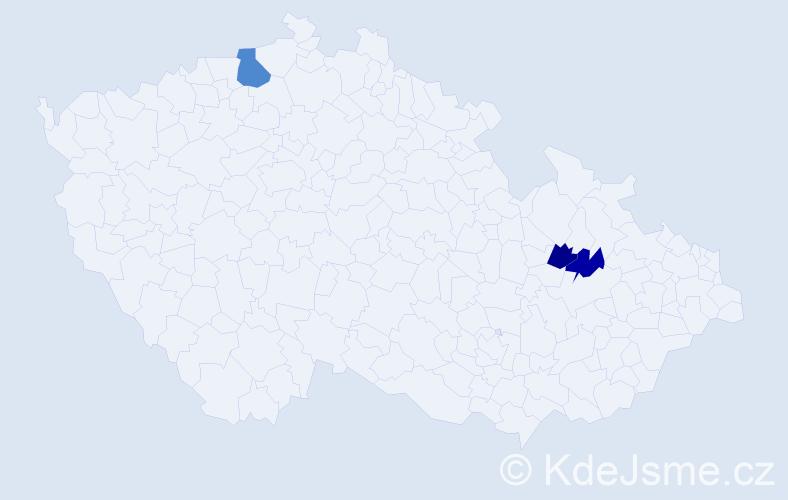 Příjmení: 'Čačaný', počet výskytů 4 v celé ČR