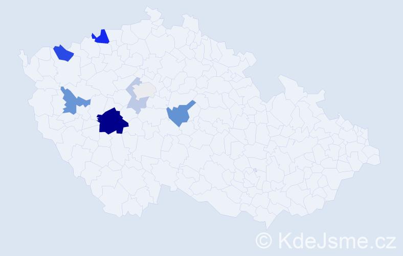 Příjmení: 'Lázinková', počet výskytů 18 v celé ČR
